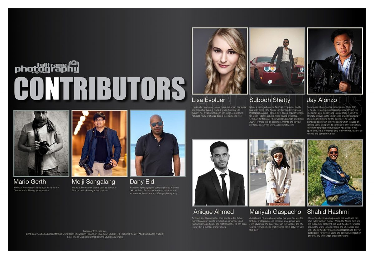 contributors list in the fullframe magazine