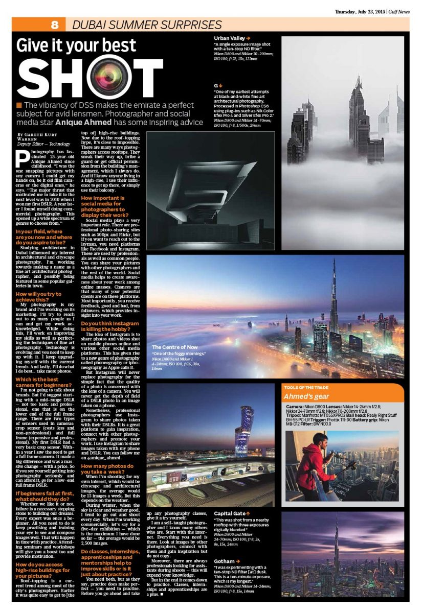 print feature in gulf news supplementary